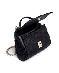 Givenchy Black 'pandora Box' Mini Velvet Flock Leather Bag