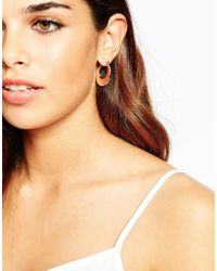ASOS | Pink 70s Midi Hoop Earrings | Lyst