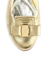 Ferragamo - Lulu Metallic Leather Bow Flats - Lyst