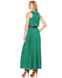 Michael Kors - Green Michael Sleeveless Printed Maxi Dress - Lyst