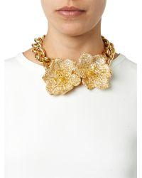 Alexander McQueen Metallic Crystal-Embellished Flower Choker
