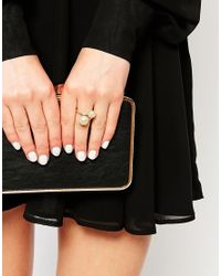 Pieces | Metallic Vibe Double Ball Adjustable Ring | Lyst