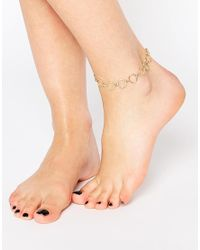 ASOS - Metallic 70's Open Circle Anklet - Lyst
