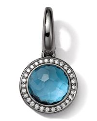 Ippolita | Black Sterling Silver London Blue Topaz & Diamond Lollipop Charm | Lyst