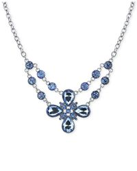 2028 | Metallic Silver-tone Blue Crystal Flower Necklace | Lyst