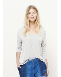 Violeta by Mango   Brown Dropped Seam T-shirt   Lyst