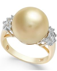 Macy's | Metallic Cultured Golden South Sea Pearl (12mm) And Diamond (1/4 Ct. T.w.) Ring In 14k Gold | Lyst