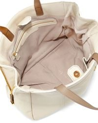 Halston - White Leather Two-Toned Tote - Lyst