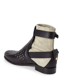 Chloé - Black Chlo㉠Double Buckle Studded Ankle Boots - Lyst