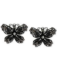Betsey Johnson - Black Filigree Butterfly Button Earrings - Lyst