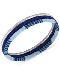 Lucky Brand | Silver-tone Blue Thread-wrapped Bangle Bracelet Set | Lyst
