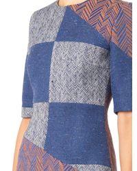 ROKSANDA Blue Harlan Patchwork Herringbone Dress