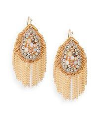 Saks Fifth Avenue - Metallic Beaded Chain Fringe Earrings - Lyst