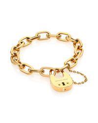 Michael Kors | Metallic Cityscape Hardware Padlock Chain Bracelet/Goldtone | Lyst