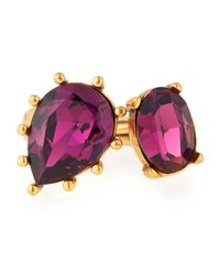 Oscar de la Renta - Purple Pear And Oval Crystal Ring - Lyst