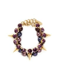 Joomi Lim - Purple Arrowhead Spike Crystal Faux Pearl Bracelet - Lyst