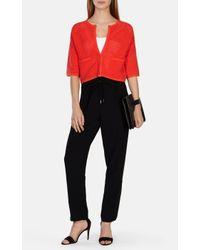 Karen Millen Orange Ripple Texture Knit Cardigan