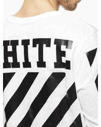 Off-White c/o Virgil Abloh White Striped Long Sleeve T-Shirt for men