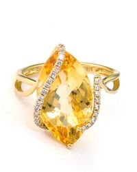Effy | Metallic 14 Kt. Gold Diamond Accented Citrine Ring | Lyst