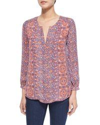 Joie | Red Pazima Floral-print Silk Top | Lyst