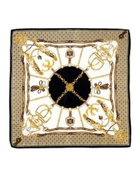 Aspinal - Metallic Silk Scarf with Black Horse Shoe Stirrup - Lyst