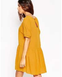 ASOS | Yellow Petite Smock Dress With Lace Insert Detail | Lyst