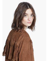 Mango Brown Fringe Leather Jacket