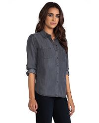 C&C California - Textured Chambray Two Pocket Shirt in Gray - Lyst