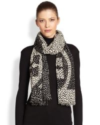 Tory Burch - Black Dotted Pony Logoprint Wool Scarf - Lyst