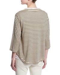 Brunello Cucinelli - Natural Striped Wool-cashmere Pullover - Lyst