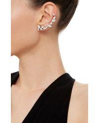 Ryan Storer - White Rhodium Plated Swarovski Crystal Ear Cuff With Stud - Lyst