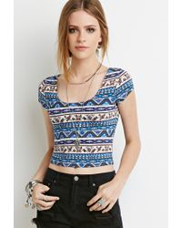 Forever 21 Blue Floral Print Crop Top You've Been Added To The Waitlist