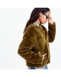 J.Crew | Green Plush Fleece Teddy Jacket | Lyst