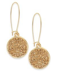 INC International Concepts | Metallic Gold-tone Crystal Pavé Disc Drop Earrings | Lyst
