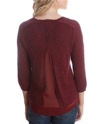 Lucky Brand | Purple Knit Mixed Media Sweater | Lyst