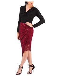 Jane Norman Black Long Sleeve Brocade Cutout Top