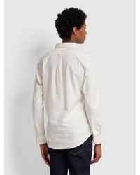 Farah White Steen Slim Fit Brushed Cotton Oxford Shirt for men