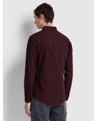 Farah Red Steen Slim Fit Brushed Cotton Oxford Shirt for men