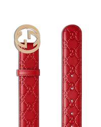 Gucci Signature レザーベルト Red