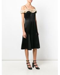 Blumarine Black Fur Trimmed Fitted Dress