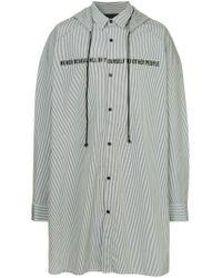Juun.J Black Striped Hooded Shirt for men