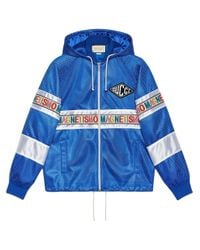 Gucci Blue Net Jacket With Magnetismo Stripe for men
