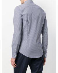 Emporio Armani - Blue Patterned Curved Hem Shirt for Men - Lyst