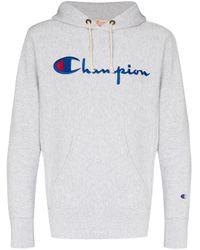 メンズ Champion ロゴ パーカー Gray
