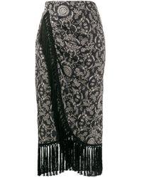 Pinko Black Tassel Fringed Midi Skirt