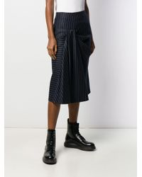 Jupe rayée en laine Alexander McQueen en coloris Blue