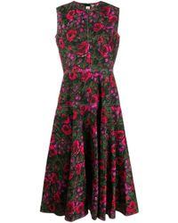 Robe mi-longue à fleurs Marni en coloris Black
