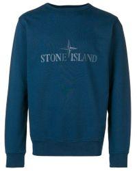 Pull à logo Stone Island pour homme en coloris Blue