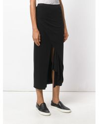 Rick Owens Lilies Black Draped Midi Skirt
