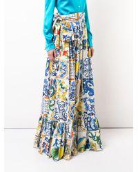 Dolce & Gabbana White Majolica Print Maxi Skirt